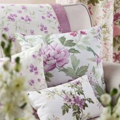 Pretty Purple flowered pillow Pinterest