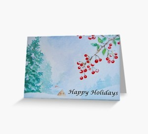 Happy Holidays snow on berries card