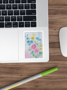 Pastel Floral Watercolor in Shabby Chic sticker