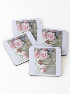 Whimiscal Teapot and Pink Tea Roses coasters