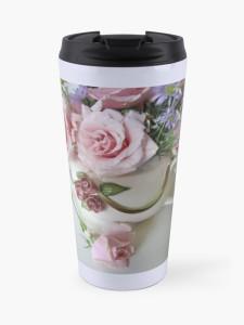 Whimiscal Teapot and Pink Tea Roses travel mug